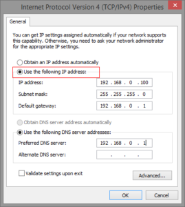 windows IP settings for 192.168.ll